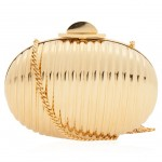 Elie Saab gold Oval Clutch Bag