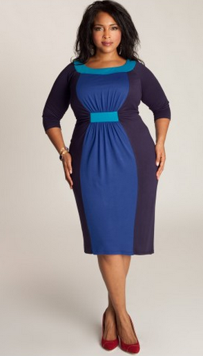 IGIGI Sophie Plus Size Colorblock Dress in Navy