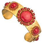 LIZ Palacios Red Caboche and Gold Cuff Bracelet
