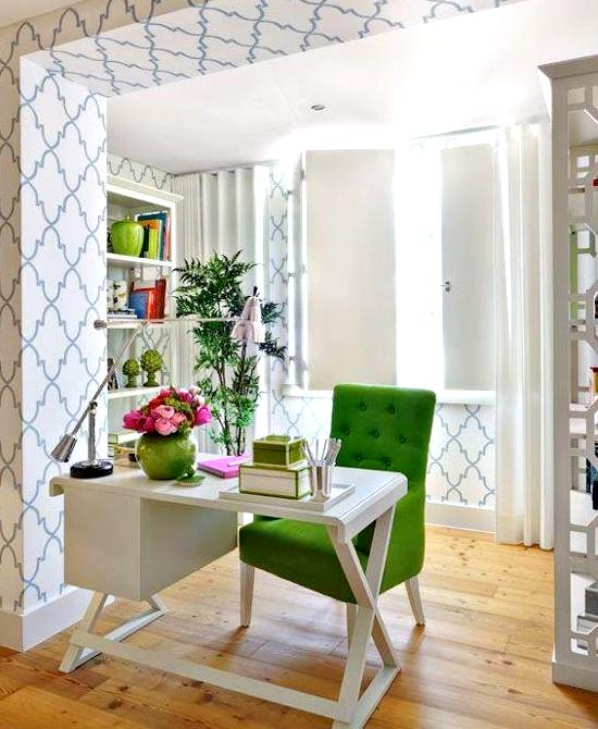 Luscious green and white home office decor ideas via my luscious life decor blog