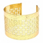 Marissas Textured Cut Out Design Gold Cuff Bracelet