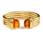 SusanB.com Ribbed Cuff Bracelet with Citrine CZ