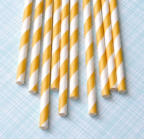 Yellow chevron striped straws