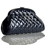 Chanel Navy Blue Patent Leather Classic Clutch Bag