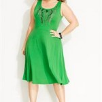 Emerald green Avenue Plus Size Studded Strand Dress - larger sizes
