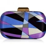 Emilio Pucci Lavender Geometric Print Round Hard Clutch purse