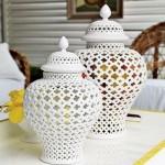 William Sonoma Home pierced ginger jars