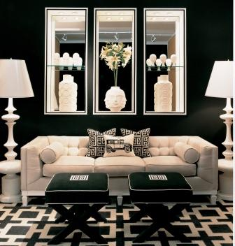 elegant living room ideas - black and white