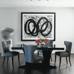 Glamorous living room dining luscious black and white interiors