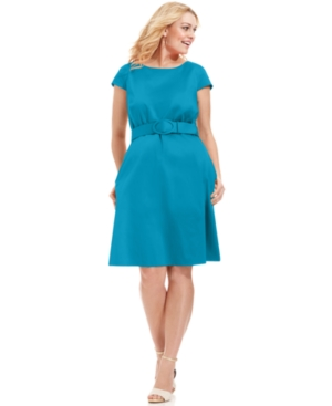Spense Plus Size ladylike blue Dress Cap-Sleeve Belted A-Line