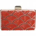 Lanvin Evening Satin Broiderier Paillettes Clutch - Orange bag