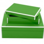 Plantation Design Lacquer Storage Boxes Set in Kelly Green