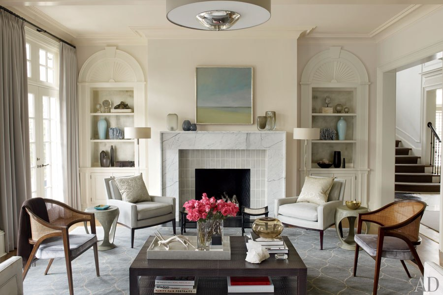Living room of Melisse Shaban and Jane Elizabeth Phillips's Raleigh, North Carolina home by Russell Groves