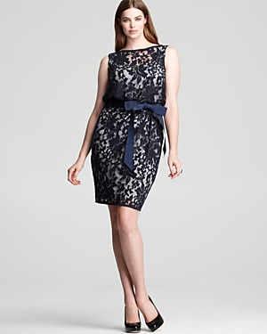 Tadashi Shoji Plus Dress - Sleeveless Tie Waist - lace blue via mylusciouslife