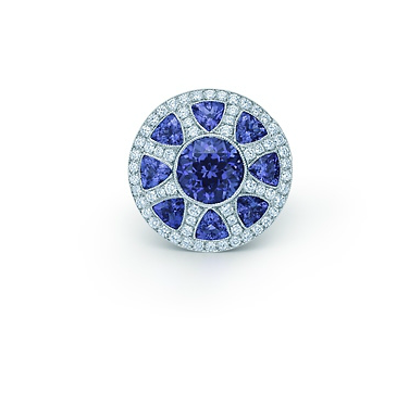 176543095 The Great Gatsby Collection ring in platinum with diamonds and tanzanites