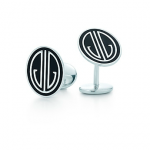 Tiffany Ziegfeld Collection cuff links in sterling silver with black enamel finish - Great Gatsby