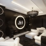 black and white interiors screening room