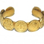 Chanel Gold Tone Coin Cuff Bracelet