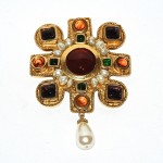 Chanel Vintage Goldtone Pearl & Gripox Maltese Cross