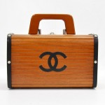 Chanel Vintage Wood & Black Leather Bag Rare Limited Edition