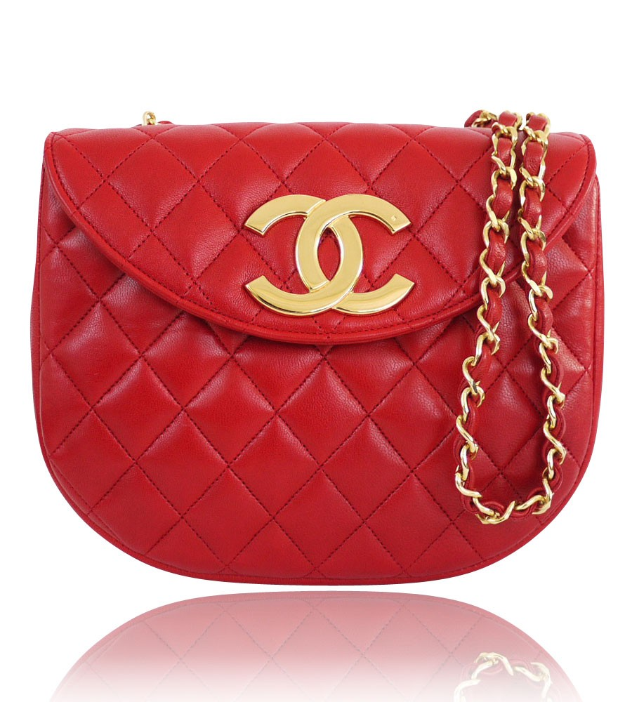 Chanel Vintage genuine red Lambskin Big Logo Classic Crossbody