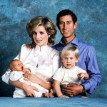 Family portrait of Prince Charles Princess Diana Prince William as a toddler and Prince Harry as a newborn baby