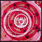 Pink and red Hermes scarf