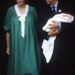 Prince William as a baby leaves the hospital with parents Princess Diana and Prince Charles
