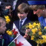 Prince William as a boy meets and greets with his mother Princess Diana