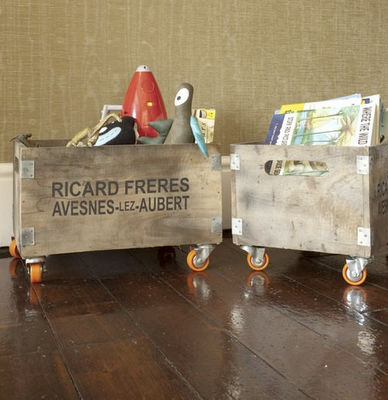 Rose and Grey Rustic Wooden Storage Box on Wheels