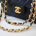 Chanel tufted gold handbag