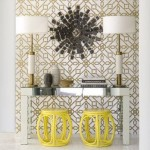 Glamorous living - bamboo style stools in yellow