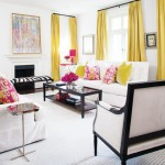 Stylish home - living room with yellow curtains