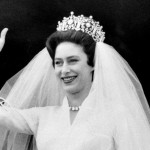 Royal tiaras - Princess Margaret on her wedding day with tiara