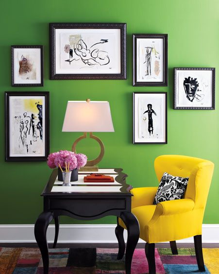 Bright colourful home office - yellow green black