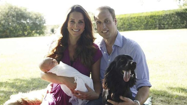 The Cambridge family - William, Kate and baby George and puppy