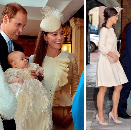 Kate and Pippa Middleton in their ivory cream coat dresses at Prince George's christening