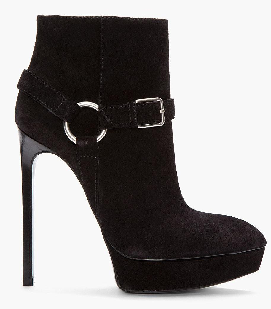 Saint Laurent black suede Janis buckle boots