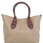 Beige and brown overnight bags