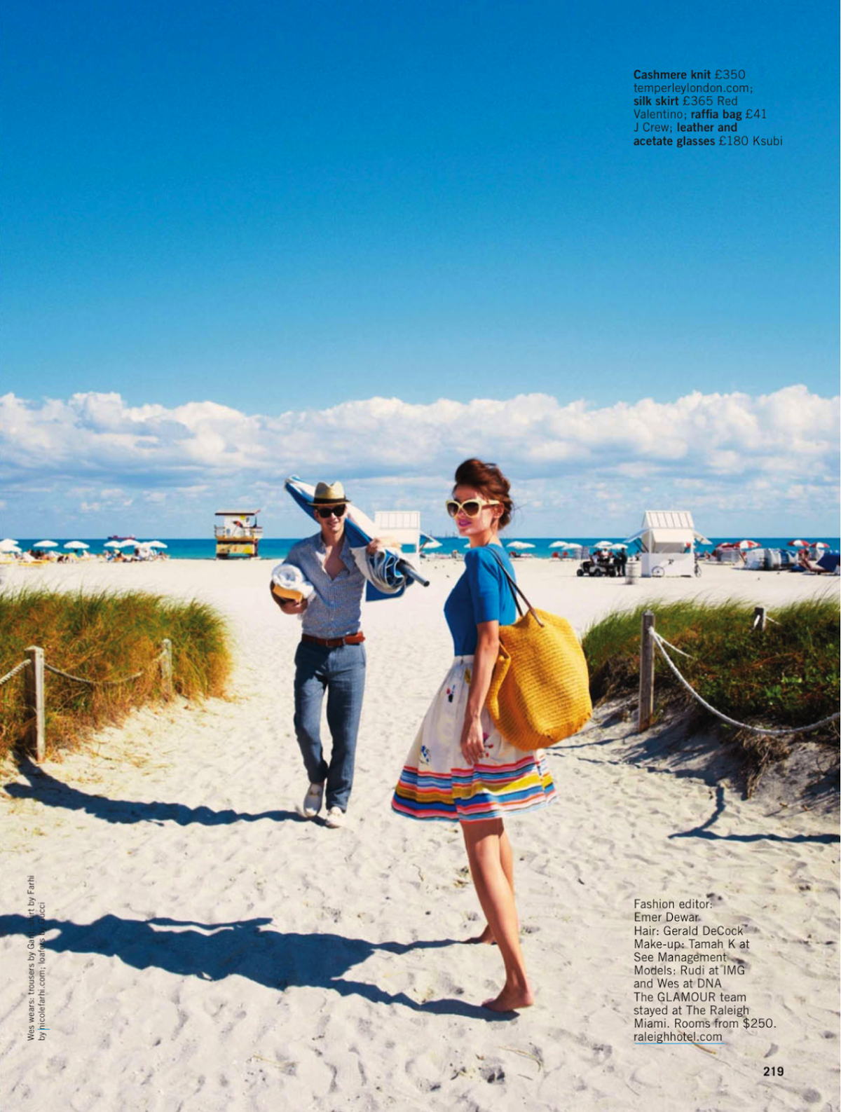 Beach glamour: Rudi Ovchinnikova and Wes by Pamela Hanson for Glamour UK May 2013