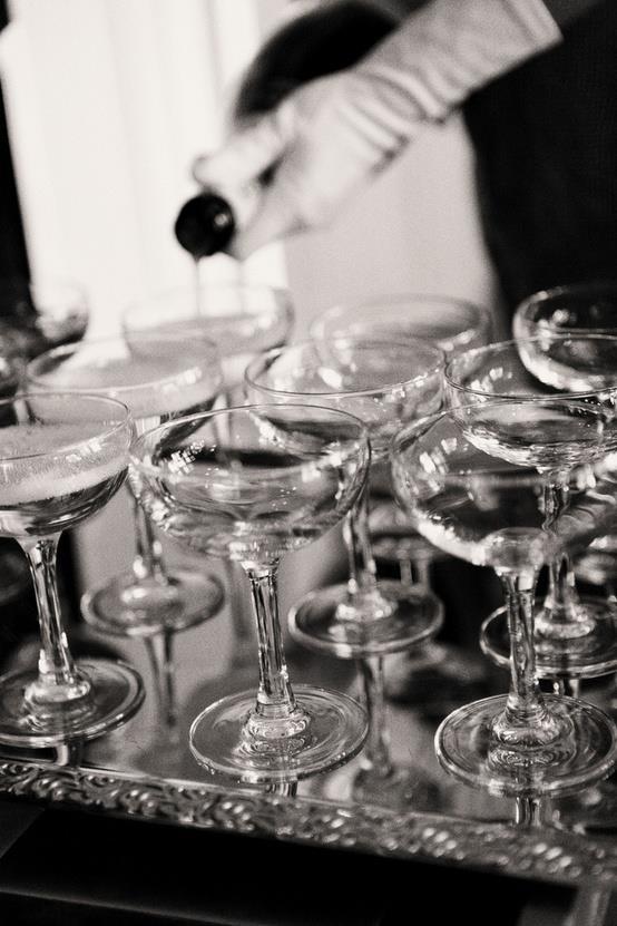 Glamorous photo of champagne glasses