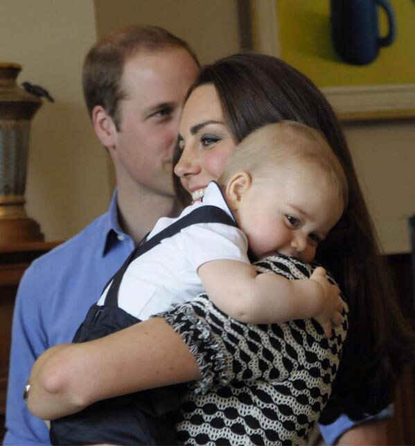 SHOP ONLINE: Kate Middleton black and white geometric print dress by Tory Burch with Prince George