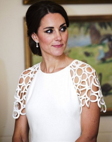 ROYAL STYLE: Kate Middleton in a white lace cocktail dress by Lela Rose - Canberra - royal tour