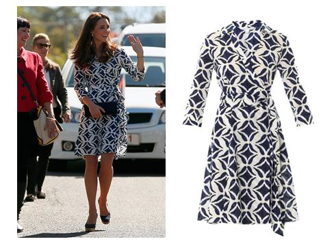 SHOP THIS LOOK - Kate Middleton in blue and white DVF Patrice cotton print dress - Blue Mountains