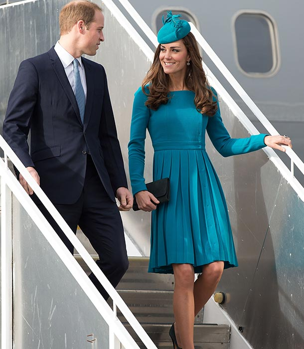 ROYAL TOUR: Kate Middleton in an aquamarine dress by NZ-born designer Emillia Wickstead and Jane Taylor hat