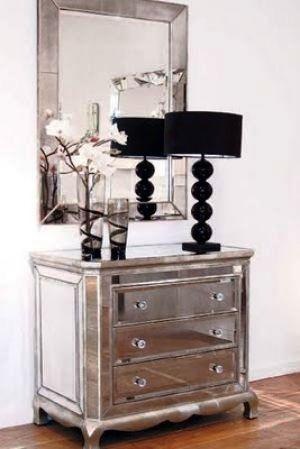 PINTEREST: Mirrored drawers and wall mirror - A glamorous life via myLusciousLife.com