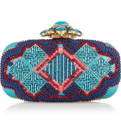 FAREWELL OSCAR: Oscar de la Renta Goa embellished satin box clutch