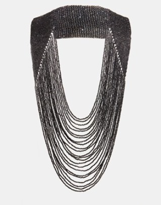 STATEMENT NECKLACE: Black metal multi-chain Pieces Statement necklace from ASOS