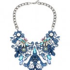 Macy's sale: Haskell Hematite-Tone Blue Filigree and Crystal Frontal Statement Necklace