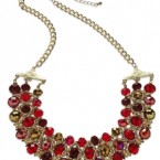 Macy's sale: Styleco. Gold-Tone Faceted Red Bead Three-Row Frontal Necklace